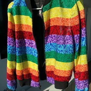 Alice and Olivia Sequin Rainbow Bomber Jacket